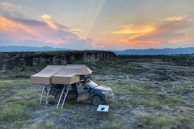 Enjoy Colombia's sunset from your roof top tent